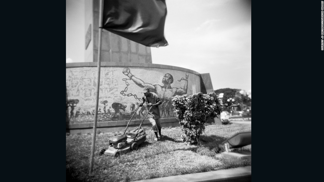 Photographer Jo Ractliffe captured this moment in front of a monument to former Angolan president Agostinho Neto. Nash argues that today many don't know about the period of communist influence, or may not want to know about it.