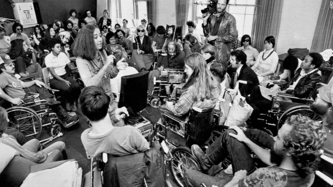In 1977, disability rights protesters occupied the San Francisco offices of the Department of Health, Education and Welfare, demanding the federal government implement a law protecting the rights of the disabled.