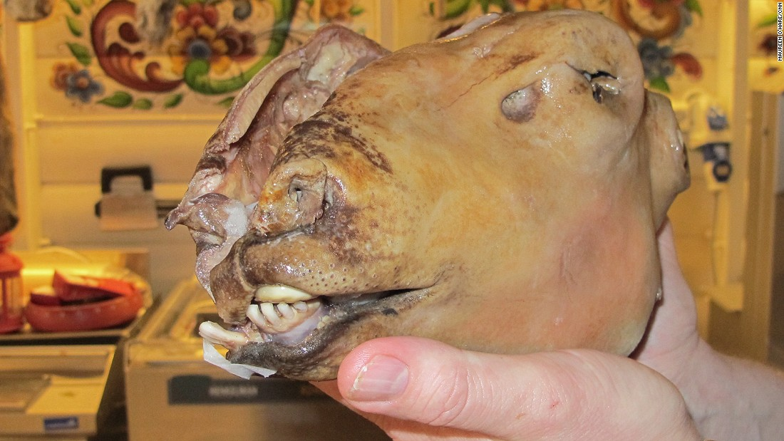 A Western Norwegian Christmas treat, smalahove is a whole sheep's head. To prepare, burn off the wool and skin, remove the brain and salt the head. Servings are half a head each, so it's perfect for couples.