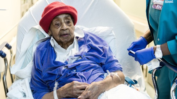 Hattie Hill, 105, is treated for a leg infection at Mt. Sinai Hospital in New York.