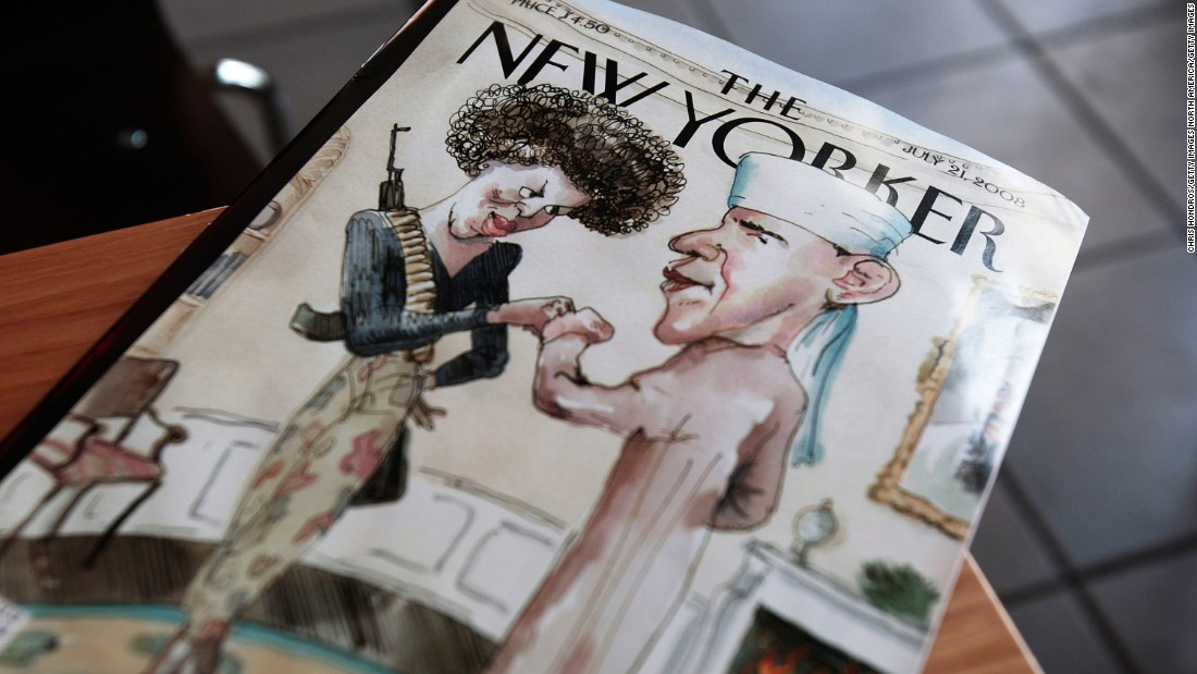 It was supposed to be funny, but it ended up infuriating many. A New Yorker cover in 2008 depicted Michelle Obama as a gun-toting militant and Obama dressed in Muslim attire. The magazine's editor said it was supposed to satirize fear of Obama, but others said it reinforced perceptions of him as un-American.