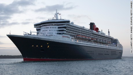 SOUTHAMPTON, ENGLAND - MAY 09:  The 'Queen Mary 2' ocean liner sails into dock alongside her sisters ships 'Queen Elizabeth' and 'Queen Victoria' to celebrate her 10th anniversary on May 9, 2014 in Southampton, England. The three cruise ships, which make up the entire fleet of Cunard's ocean liners, sailed together for the first ever time from Lisbon to Southampton. The Queen Mary 2, launched in March 2003, is the largest vessel ever to have been built for Cunard and is capable of holding up to 2620 passengers. Prince Philip, the Duke of Edinburgh will attend the 10th anniversary celebrations of the Queen Mary 2 today.  (Photo by Oli Scarff/Getty Images)