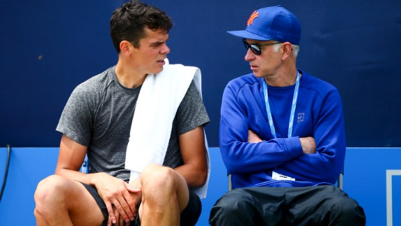 LONDON, ENGLAND - JUNE 19:  Milos Raonic of Canada (L) sits with his coach John McEnroe (R) during a practice session ahead of his final match against Andy Murray of Great Britan during day seven of the Aegon Championships at the Queens Club on June 19, 2016 in London, England.  (Photo by Jordan Mansfield/Getty Images)