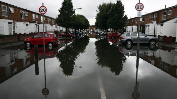 A flooded street in Battersea, London.