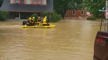 Rescue crews spotted on boats in White Sulphur Springs, West Virginia