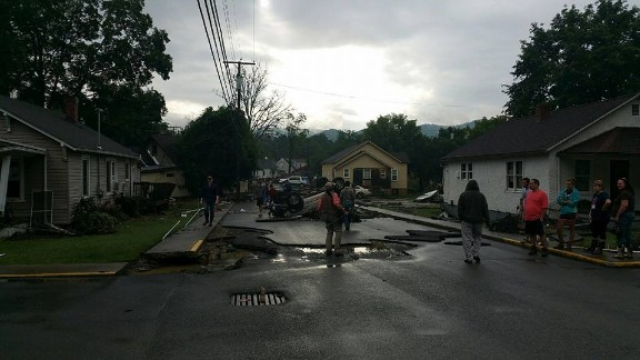 Chad Agner captured photos of the devastating flooding in his area of White Sulphur Springs, West Virginia, on Friday. His home was washed away by powerful flood waters overnight.