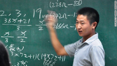 Yu Jianchun, a migrant worker, gave a presentation at Zhejiang Univeristy, last month.