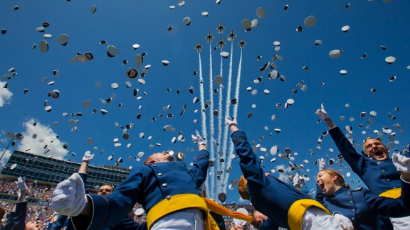 """The U.S. Air Force Thunderbirds fly overhead as cadets graduate from the U.S. Air Force Academy on Thursday, June 2. <a href=""""http://www.cnn.com/2016/06/02/politics/military-plane-crash/"""" target=""""_blank"""">One of the Thunderbirds crashed</a> shortly after the flyover."""