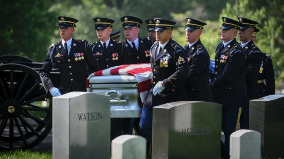 The remains of Stephanie Czech Rader are carried to her gravesite at Arlington National Cemetery on Wednesday, May 10. Rader, who died in January at the age of 100, was once a U.S. Army captain who served as an American spy in post-World War II Europe. She was posthumously awarded the Legion of Merit before her burial.