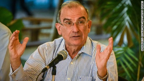 The head of the Colombian Government delegation to the peace talks with the FARC guerrilla, Humberto de la Calle speaks during a press conference at Convention Palace in Havana on June 24, 2016. The Colombian government and FARC rebels signed a ceasefire and disarmament agreement Thursday, one of the last steps toward ending a half-century conflict that has killed hundreds of thousands of people. / AFP / ADALBERTO ROQUE        (Photo credit should read ADALBERTO ROQUE/AFP/Getty Images)
