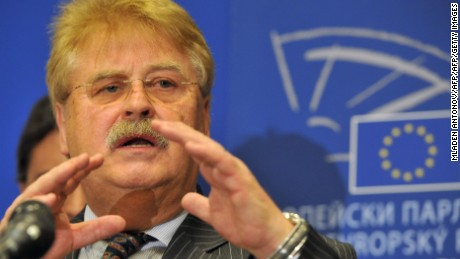 The Chairman of the European Parliament's Committee on Foreign Affairs, Germany's Elmar Brok, answers questions during a press conference at the European Union headquarters in Washington, DC on October 30, 2013. A 9-member delegation of Members of the European Parliament (MEPs) visited Washington to gather information on issues related to the Inquiry on the Electronic Mass Surveillance of EU citizens by the US National Security Agency (NSA).  AFP PHOTO/MLADEN ANTONOV        (Photo credit should read MLADEN ANTONOV/AFP/Getty Images)