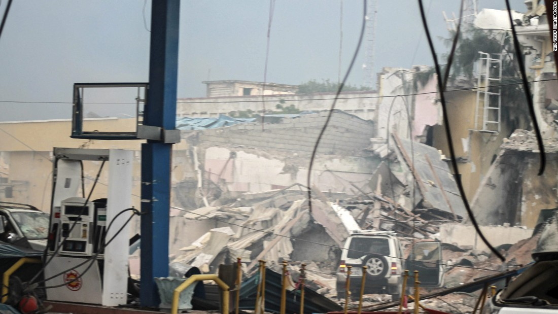 The destroyed hotel,seen behind a gas station, is  frequented by Somali government officials, lawmakers and security officers, Dahir said. The blast was followed by a gun battle inside the hotel.