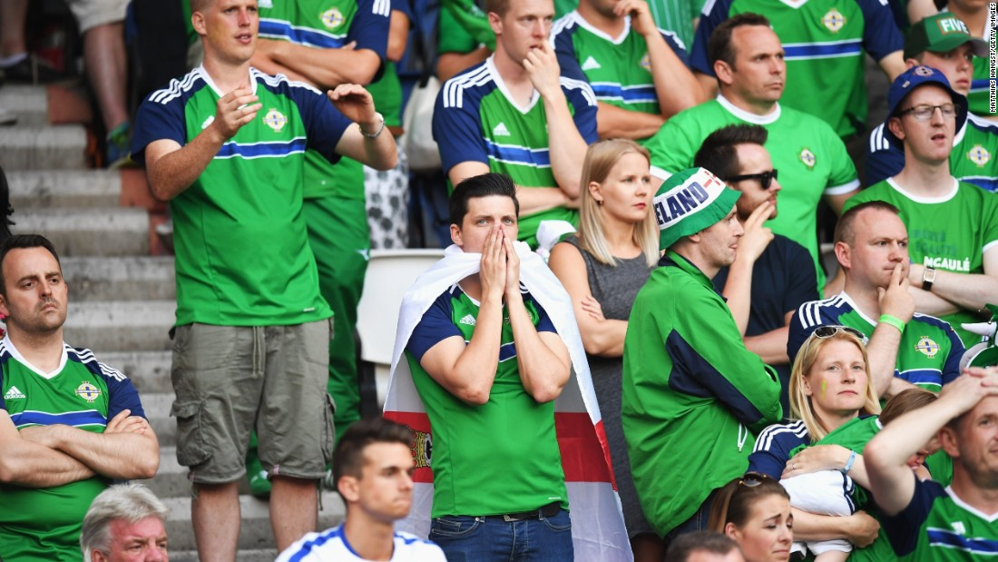 Northern Ireland supporters react during the match.
