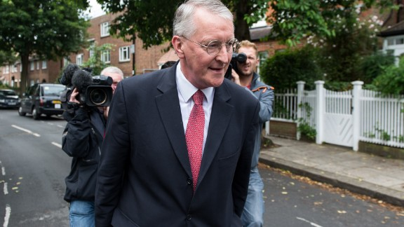 British Labour MP Hilary Benn in London Sunday following his sacking from the shadow cabinet.