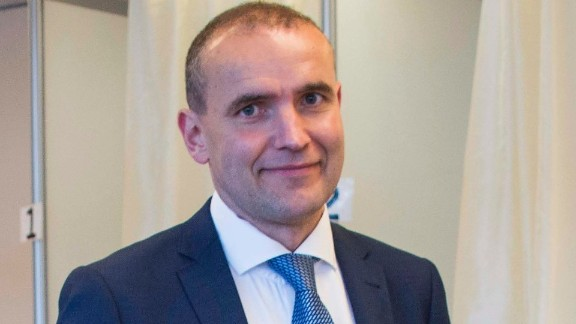 Presidential candidate Gudni Johannesson casts his ballot at a polling station in Reykjavik on Saturday.
