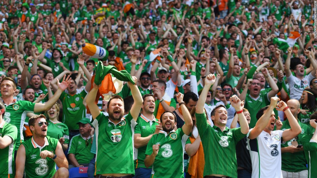Ireland supporters cheer their team.
