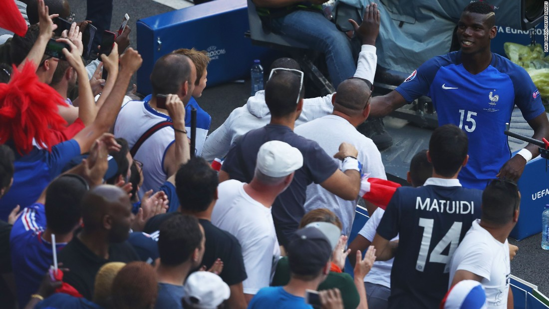 Paul Pogba of France celebrates his team's 2-1 win over Republic of Ireland with supporters at Stade des Lumieres on Sunday, June 26,  in Lyon, France.