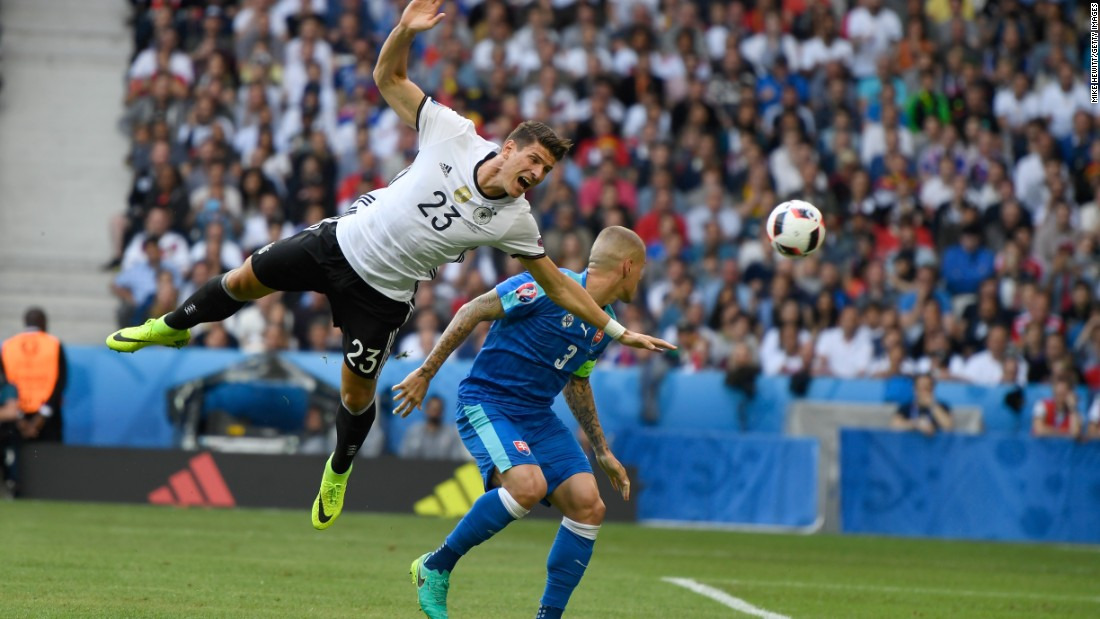 Mario Gomez of Germany is fouled by Martin Skrtel of Slovakia, resuting in a penalty kick.