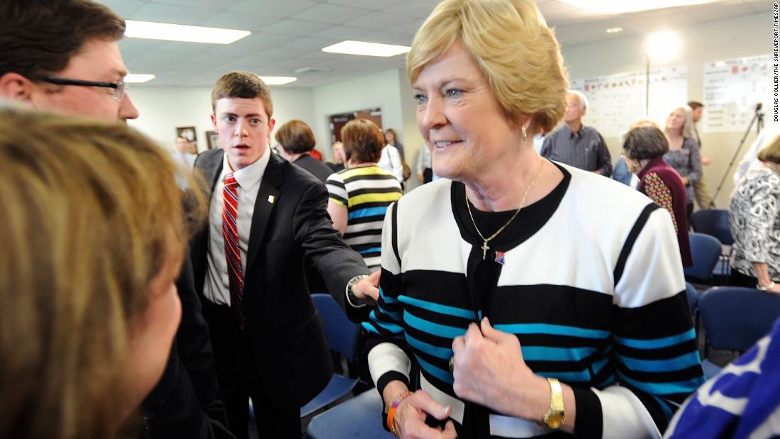 Tyler Summitt reaches for his mother after a press conference in April 2014 to announce Tyler Summitt as the new Louisiana Tech women's basketball coach in Ruston, Louisiana.