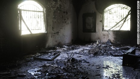 A picture shows the damage inside the burnt US consulate building in Benghazi on September 13, 2012, following an attack on the building late on September 11 in which the US ambassador to Libya and three other US nationals were killed. Libya said it has made arrests and opened a probe into the attack, amid speculation that Al-Qaeda rather than a frenzied mob was to blame. AFP PHOTO/GIANLUIGI GUERCIA        (Photo credit should read GIANLUIGI GUERCIA/AFP/Getty Images)