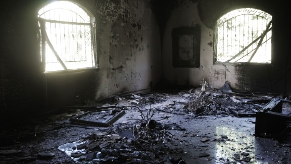 A picture shows the damage inside the burnt US consulate building in Benghazi on September 13, 2012, following an attack on the building late on September 11 in which the US ambassador to Libya and three other US nationals were killed.