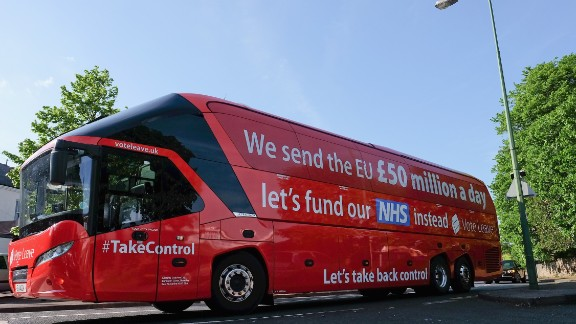 CHESTER-LE-STREET, ENGLAND - MAY 30: The Brexit battle bus arrives at Chester-Le-Street Cricket Club ahead of a visit by Boris Johnson MP and former England test cricketer Sir Ian Botham OBE  as part of the Brexit tour on May 30, 2016 in Chester-Le-Street, England. Boris Johnson and the Vote Leave campaign are touring the UK in their Brexit Battle Bus on a campaign hoping to persuade voters to back leaving the European Union in the June 23rd referendum. Sir Ian Botham has backed the Brexit campaign. (Photo by Ian Forsyth/Getty Images)