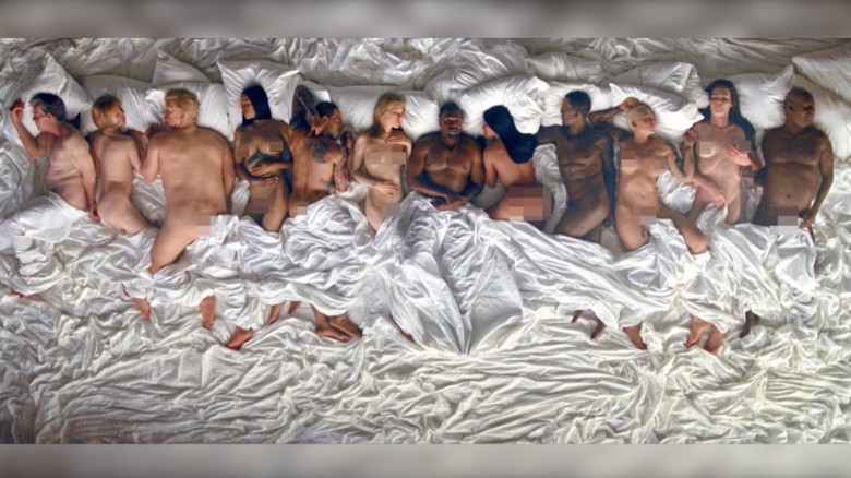 Kanye West in bed with celebrity likenesses