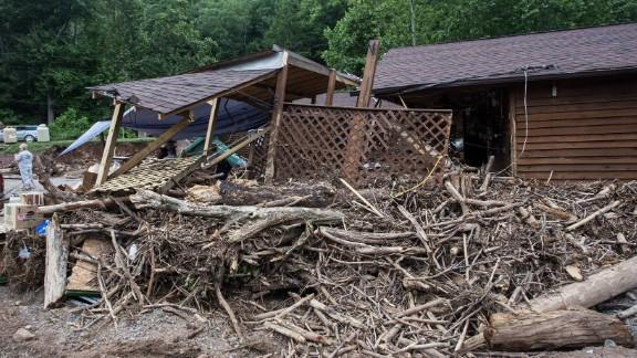 A building is damaged in Bergoo, West Virginia, on June 26.