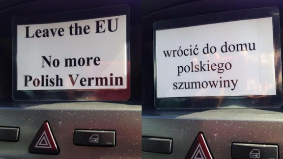 Photos of a racially abusive message, in Polish and English, distributed in Huntingdon, Cambridgeshire, on Friday June 24