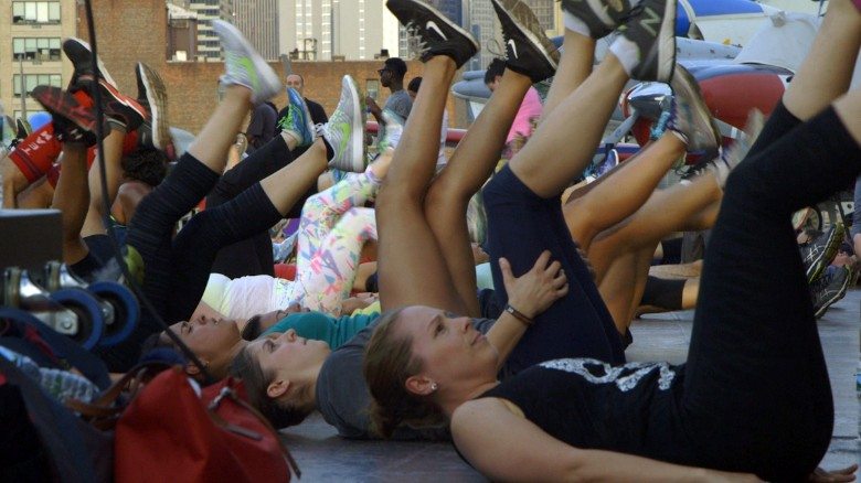 Hundreds work out on the USS Intrepid