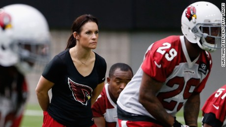 Jen Welter is the first woman to be hired as a coach in the NFL.