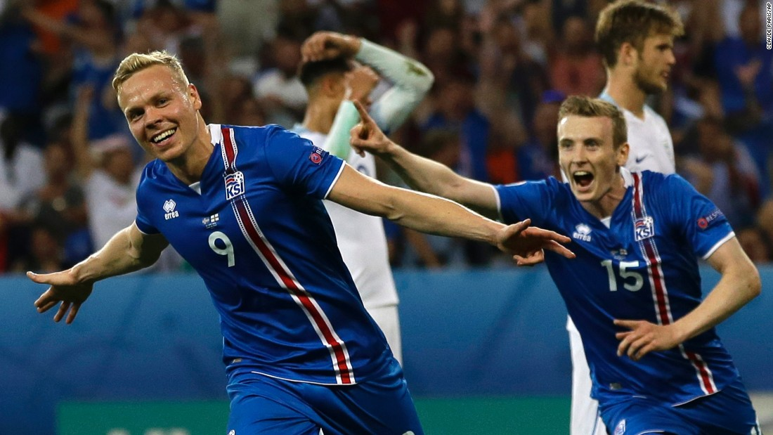 Kolbeinn Sigthorsson, left, celebrates after scoring Iceland's second goal in the 18th minute.