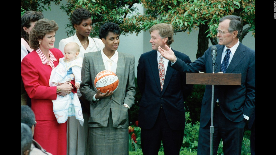President George Bush honors the University of Tennessee Lady Volunteers, the woman's NCAA Basketball tournament champions, in the White House Rose Garden on April 22, 1991.