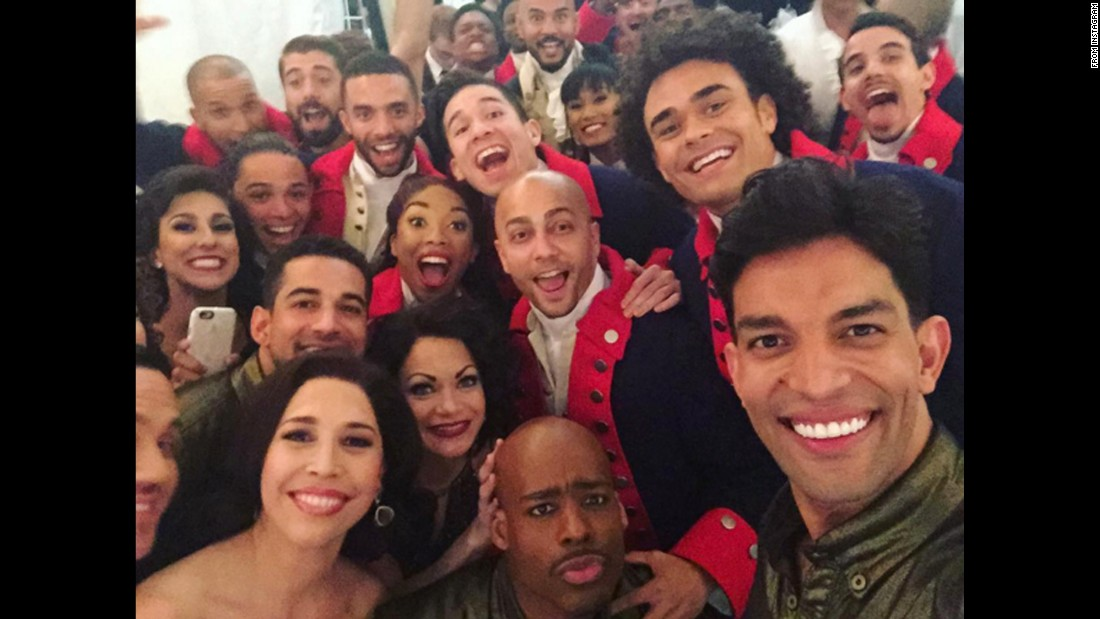 "Cast members of the hit Broadway shows ""Hamilton"" and ""On Your Feet!"" <a href=""https://www.instagram.com/p/BGk-n_uhcFL/"" target=""_blank"">take a selfie</a> Sunday, June 12, at the Beacon Theater in New York. ""Hamilton"" <a href=""http://money.cnn.com/2016/06/13/media/hamilton-tonys/"" target=""_blank"">won 11 Tony Awards</a> this month, one short of the all-time record."