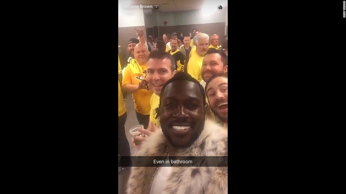 "Antonio Brown, star football player for the Pittsburgh Steelers, takes a photo with hockey fans in the bathroom of the Consol Energy Center on Thursday, June 9. Brown <a href=""http://ftw.usatoday.com/2016/06/antonio-brown-penguins-stanley-cup-final-pittsburgh-fur-coat-yes-fan-luv-snapchat"" target=""_blank"">was taking lots of selfies with fans</a> as he attended one of the Stanley Cup Final games between the Pittsburgh Penguins and the San Jose Sharks."
