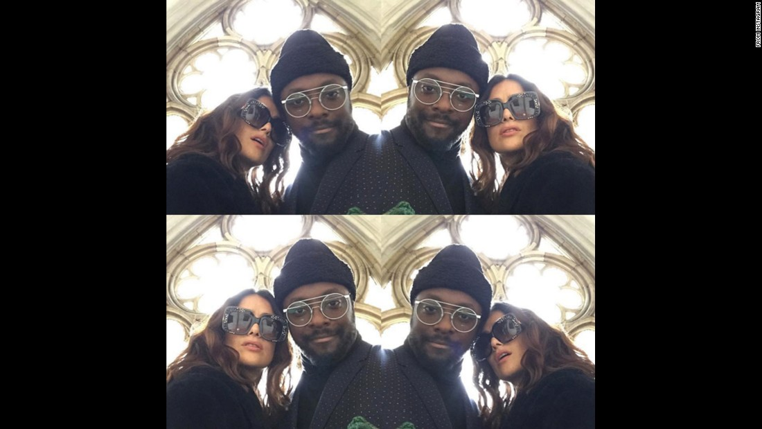 "Musician will.i.am and actress Salma Hayek <a href=""https://www.instagram.com/p/BGKEzLusFlK/"" target=""_blank"">take a selfie</a> at Westminster Abbey for a Gucci fashion show in London on Thursday, June 2."