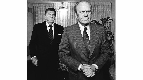 "Ford, right, defeated Ronald Reagan, left, for the Republican nomination in 1976. ""It was one of the closest conventions ever and came close to being a brokered affair,"" Kennerly said. ""The looks on their faces accurately reflected the mood in the room."""
