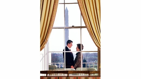 "President Ronald Reagan and first lady Nancy Reagan stand on the Truman Balcony of the White House. Time magazine chose not to run this photo because they thought it was too ""schmaltzy,"" Kennerly said. ""I told the editors that (the Reagans) are schmaltzy and don't seem to care who knows. It still never ran in the magazine."""