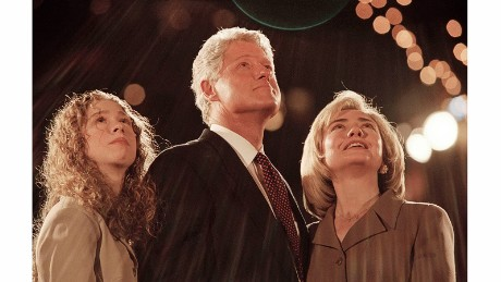 President Bill Clinton is flanked by first lady Hillary Clinton and their daughter, Chelsea, after he won a second term in 1996.