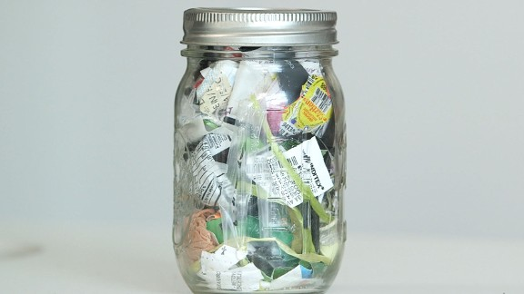 """Lauren Singer started living a zero-waste lifestyle in 2012. This jar holds everything she hasn't been able to reuse or recycle for the past four years. The New Yorker set up <a href=""""http://www.thesimplyco.com/"""" target=""""_blank"""" target=""""_blank"""">www.thesimplyco.com</a> and her <a href=""""http://www.trashisfortossers.com"""" target=""""_blank"""" target=""""_blank"""">blog</a> to help spread the zero waste message."""