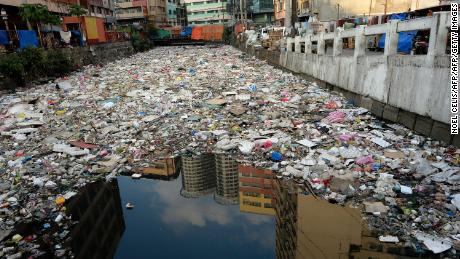 Plastic waste in Manila, Philippines, one of the worst affected areas.