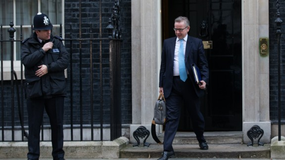 Justice Secretary Michael Gove, who backed Brexit, leaves 10 Downing Street on February 23.