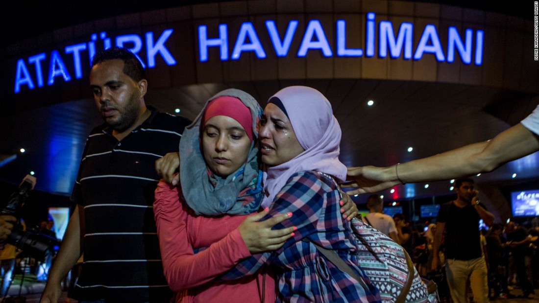 "<strong>June 29:</strong> Travelers embrace outside Istanbul's Ataturk airport after a deadly terror attack there. Three terrorists armed with bombs and guns <a href=""http://www.cnn.com/2016/06/28/europe/gallery/istanbul-airport-attacked/index.html"" target=""_blank"">attacked the main international terminal,</a> opening fire and eventually detonating their devices. <a href=""http://www.cnn.com/interactive/2016/07/world/turkey-terror-cnnphotos/"" target=""_blank"">Turkey in the shadow of terror</a>"
