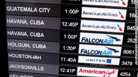 MIAMI, FL - DECEMBER 19:  A sign shows the departure times for flights to Cuba at Miami International Airport on December 19, 2014 in Miami, Florida. U.S. President Barack Obama announced a relaxation in the Cuban policy which may mean more travel between the United States and Cuba.  (Photo by Joe Raedle/Getty Images)