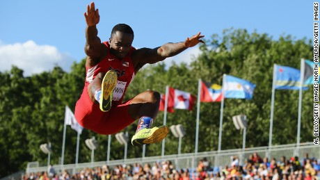 TORONTO, ON - JULY 22:  Marquise Goodwin of the USA competes in the Men's Long Jump final at the Pan Am Games  on July 22, 2015 in Toronto, Canada.  (Photo by Al Bello/Getty Images)