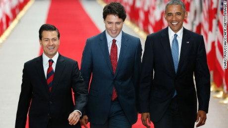 Mexican President Enrique Pena Nieto, Canadian Prime Minister Justin Trudeau and US President Barack Obama arrive for the North American Leaders Summit and Leaders Summit at the National Gallery of Canada on June 29, 2016 in Ottawa, Ontario.