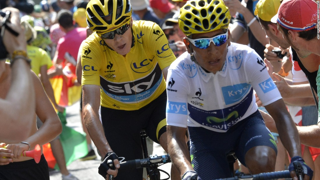 35e52c5a1 Colombia  39 s Nairo Quintana and last year  39 s yellow jersey. Photos  Tour  de France  ...
