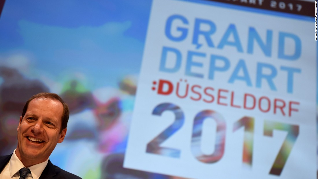 Tour de France race director, Christian Prudhomme, announces that next year's Tour will start in Dusseldorf in Germany. The 2016 edition largely stays in France with a brief visit to the principality of Andorra and also Spain and Switzerland.
