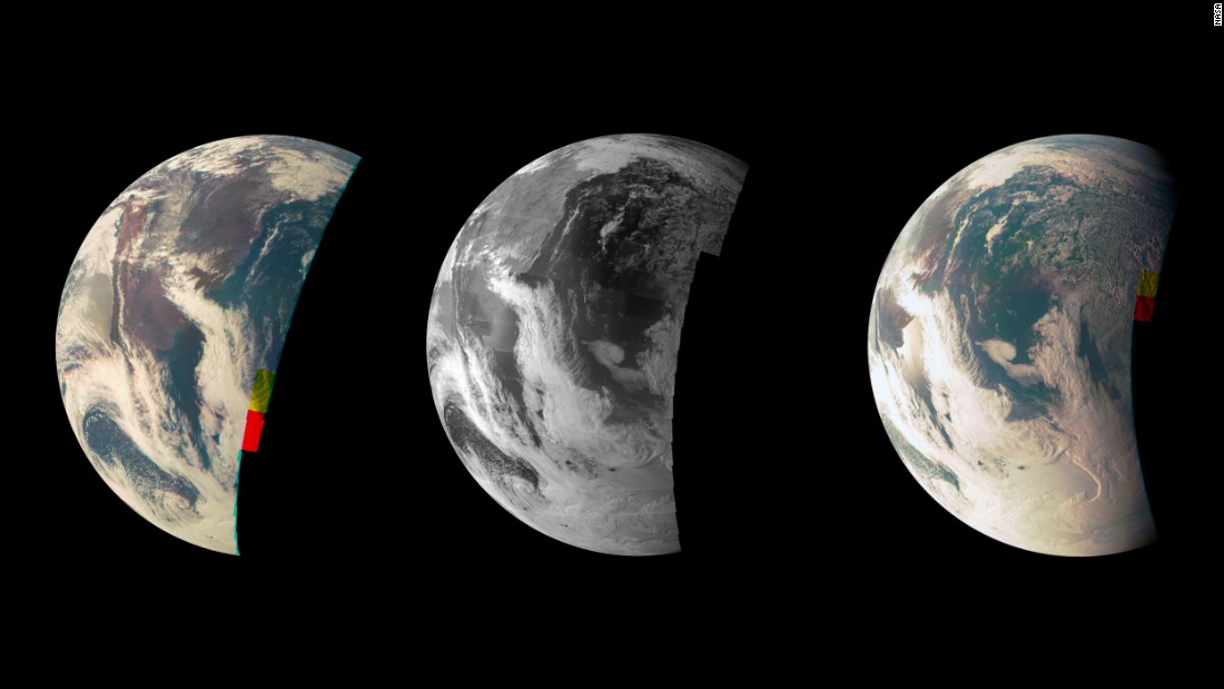 Juno made a flyby of Earth in October 2014. This trio of images was taken by the spacecraft's JunoCam.