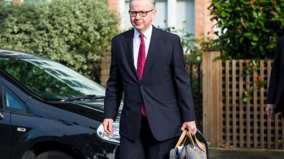 British Justice Secretary Michael Gove leaves his home in London ahead of announcing his leadership bid.
